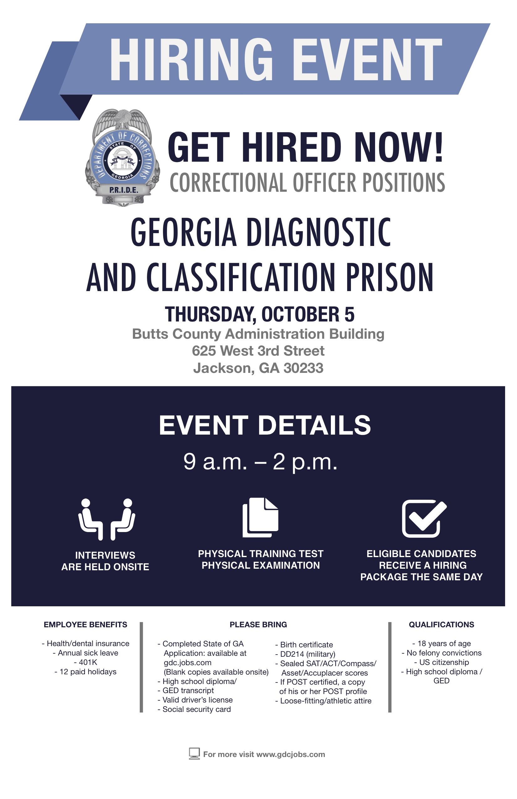 Georgia Diagnostic Prison Holds Job Fair October 5 Butts County